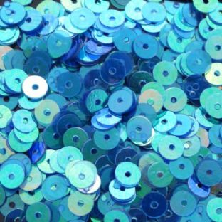 Value Pack 50g 5mm Blue/Green Iridescent Flat Round Sequins.